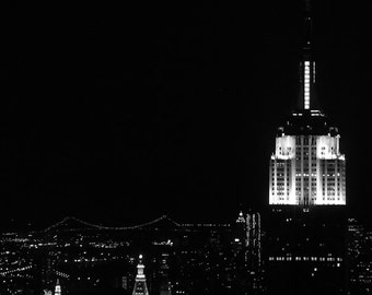 Black & White Photography - Empire State Building at Night - architecture, NYC, new york, fine art print, home décor, skyline, city