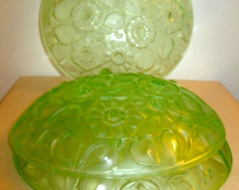 frosted green art deco pressed vintage glass light fitting shade  glass
