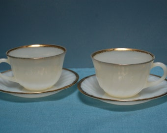 Vintage Fire King cup and saucer, milk glass, coffee cup, white saucer, tea cup,