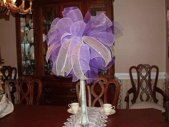 Items similar to purple deco mesh centerpiece with gold