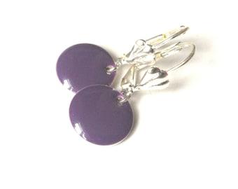 Candy - purple enamel earrings