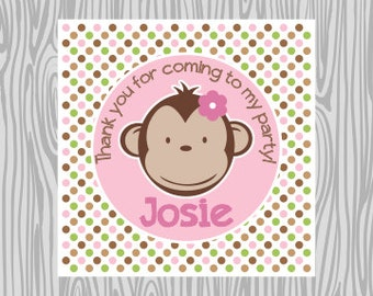 DIY - Girl Polka Dot Mod Monkey Favor Tags- Coordinating Items Available