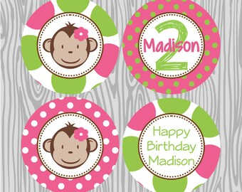 DIY  Girl Mod Monkey Birthday Cupcake Toppers- Coordinating Items Available