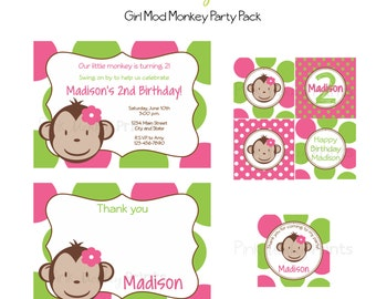 DIY - Girl Mod Monkey Birthday Party Pack 2- Coordinating Items Available
