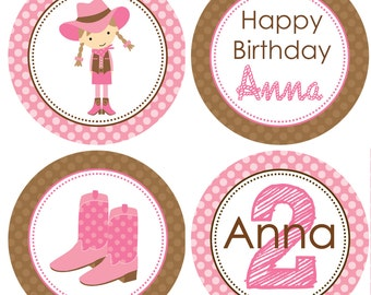 DIY - Cowgirl Birthday Party Cupcake Toppers- Coordinating Items Available