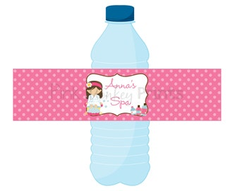 DIY - Girl Spa  Birthday Water Bottle Labels- Coordinating Items Available