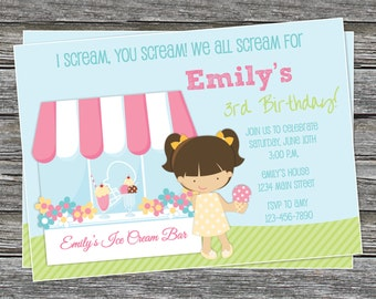 DIY - Girl Ice Cream Party Birthday Invitation - Coordinating Items Available