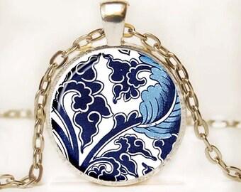 Blue and White Asian Porcelain Pendant Art Pendant Necklace Altered Art Photo Pendant Picture Pendant 2