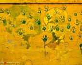 Hand Wall- Original 8x12 Photograph - Mindo Ecuador - Child Art -  Public Art - Travel Photography - International Art