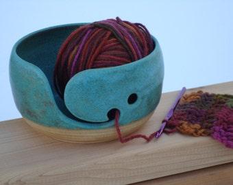 Pottery Yarn Bowl, Ceramic Knitting bowl, Crochet bowl, green, Copper Patina glaze, yarn holder