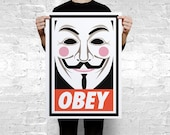 OBEY anonymous Guy Fawkes mask art print poster - CoolPoster