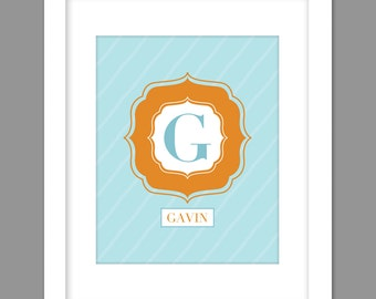 Digital Download Personalized Boys Orange Turquoise Large Centered Initial with name below, - 8x10 or 11x14