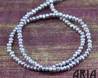 """LAVENDER: 2mm Genuine Cultured Freshwater Seed Pearls (15"""" strand)"""