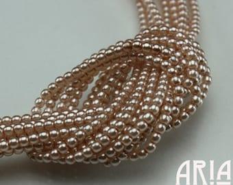 PEACH ROSE: 2mm Czech Glass Pearl Beads (150 beads per strand)