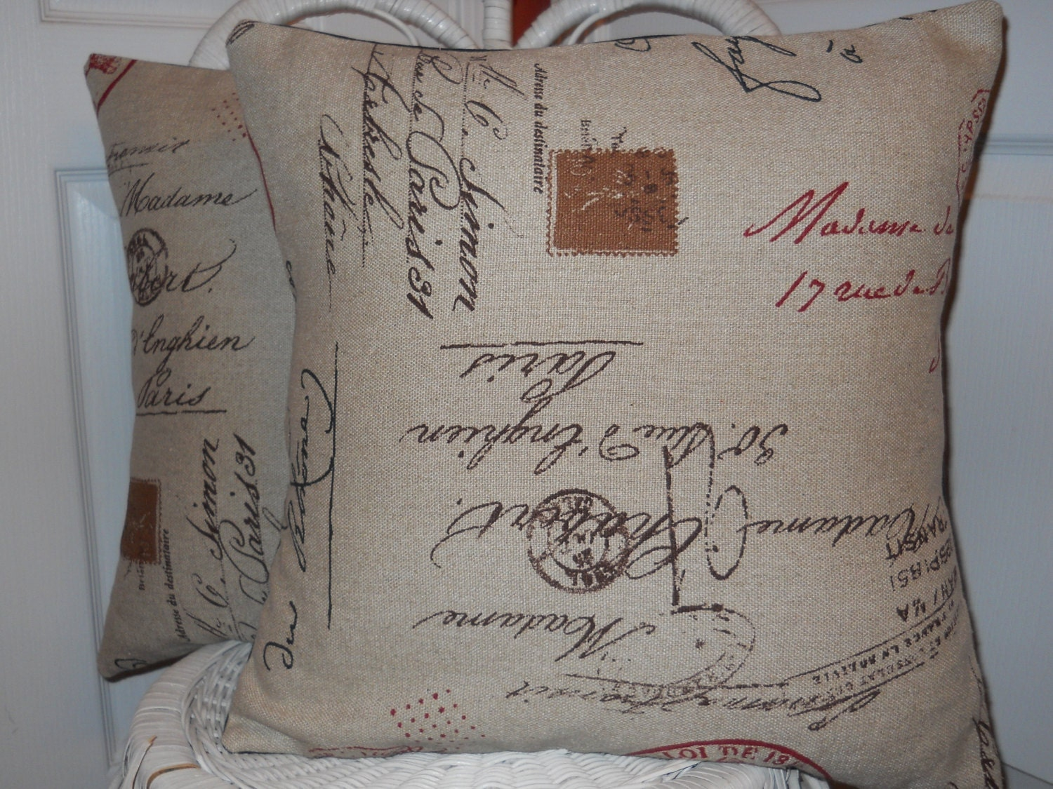 Throw Pillows With French Script : French Script Pillow Decorative Pillow by TheFrenchPillow on Etsy
