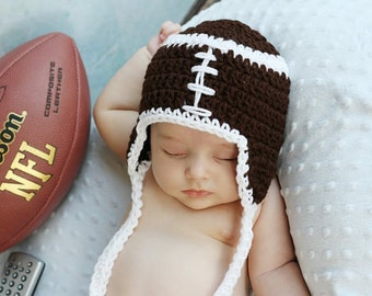 Monday Nite FOOTBALL Crochet Earflap hat with ties Boy or girl Ready for Football-  Preemie, Newborn,0-3 month,3-6 month,6-12 month,1-3 yr