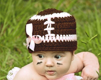Pink Girlie Monday Nite FOOTBALL Crochet Beanie Hat Ready for Football  Sizes Preemie, newborn, 0-3 month, 3-6 month, 6-12 month, 1-3 yr
