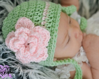 Girly mint green and Pink  Rose Beanie hat with  ties Many Sizes preemie newborn, 0-3 month,3-6 month , 6-12 month, 1-3yr other colors avail