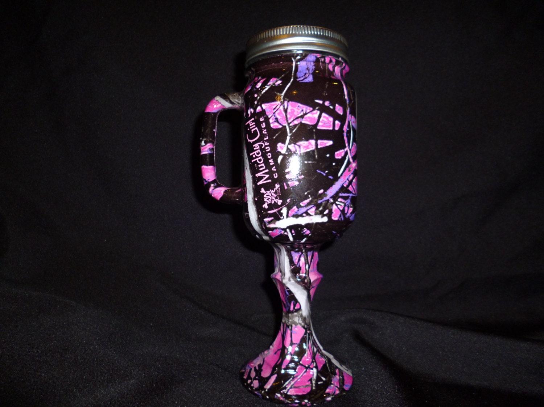 muddy girl mudding wedding rings Redneck Mason Jar Beer Mug for rustic wedding in Muddy Girl camo hydrographics