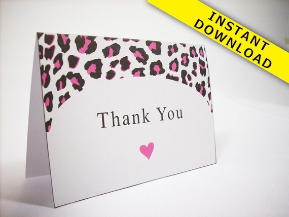 Hot Pink Cheetah Thank You Card Template Instant Download