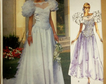 Vintage 1989 Vogue BRIDAL ORIGINAL Wedding Gown w/petticoat Pattern sz 6-8-10 uncut