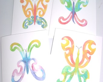 Butterfly cards, set of four, 5 x 7 with envelopes