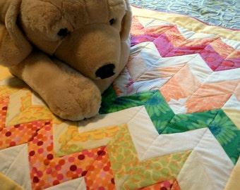 Mod chevron baby girl flannel quilt
