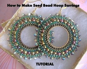 Tutorial - How to Make Seed Bead Hoop Earrings - Beaded Hoop Earrings - Hoop Earrings with Beads