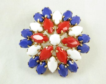 Really Cute Flower Burst  Red White And Blue Pin/Brooch 50,s Era Gold tone Setting
