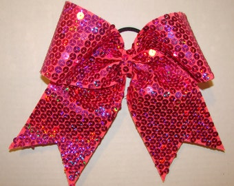 Bright Pink Sequin Cheer Bow