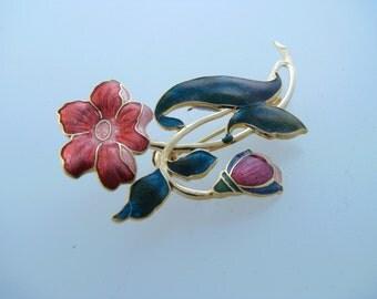 Flower Cloisonne Broach Pin