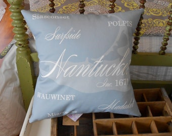 Nantucket Pillow with Village Names