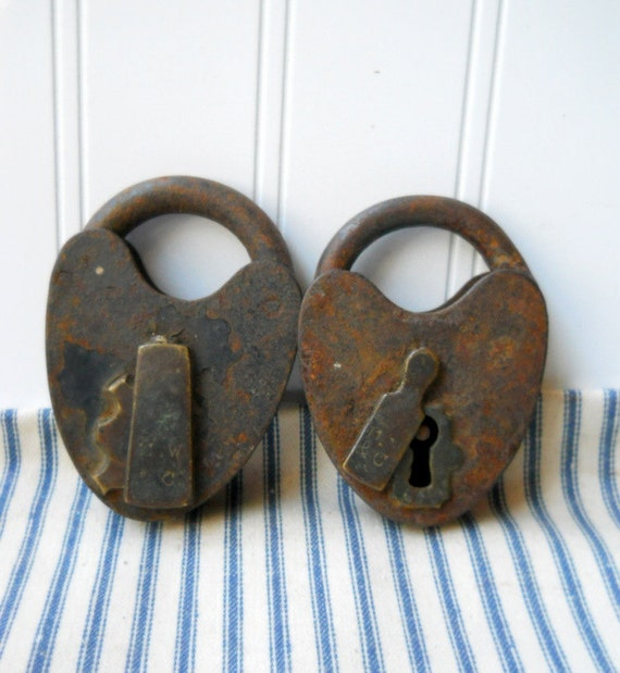 2 Heart Shaped Antique Padlocks Vintage Large Rusty Metal
