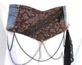 Corset belt, country festival belt, clubwear, unique clothing, gift for yourself, brown and silver fabric belt