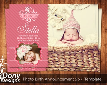 BUY 1 GET 1 FREE Birth Announcement - Neutral Baby Announcement Card - Photoshop Template Instant Download: cardcode-133