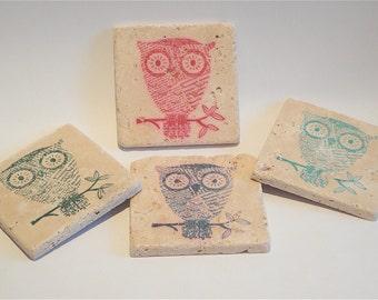 Simple Owl Coasters - Set of 4 -