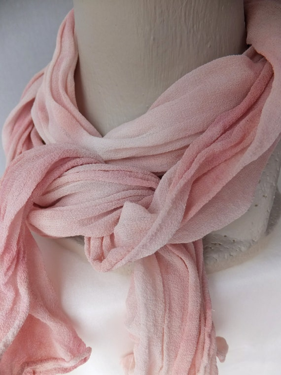 """Blush chiffon scarf, pink silk scarf, crinkle chiffon, blush, pink, Valentine's Day, February, hand dyed, small, 10"""" x 50"""", DYED TO ORDER"""