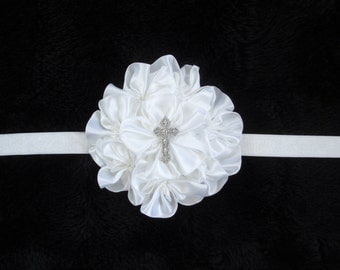 EXTRA 15% OFF-Baby Baptism Cross Headband-Baby Girl Hair Bow-White Flower-Confirmation-Infant-Church-Newborn-Preemie-Baptism-elastic-cross