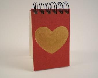 Raspberry heart pocket notebook