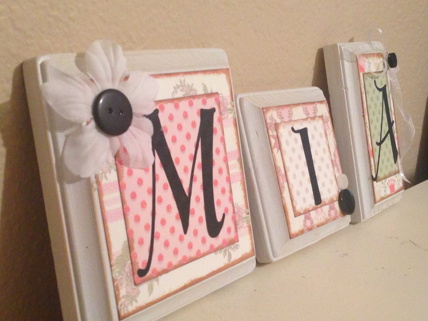 nursery wall letters personalized custom baby name letters. Black Bedroom Furniture Sets. Home Design Ideas