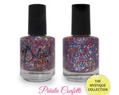Pinata Confetti Nail Polish - Rainbow Multi Color Glitter Silver Holo Diamonds - 5ml Mini Sized Bottle