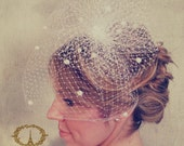 Birdcage Veil with Poof, Russian Netting with Chenille Dots, Blusher Veil, Bridal Birdcage Veil, Wedding Head Piece, Ivory or White