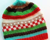 AUGIE: Handknit baby hat, 6 month size, stripes, embroidery, loop topper