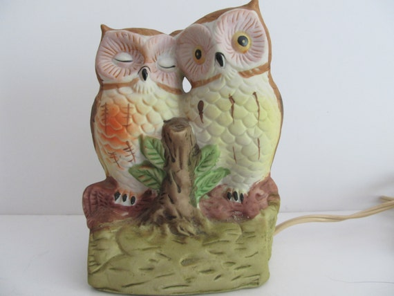 Owl Nightlight Vintage Lamps Retro Lamps Owls Ceramic