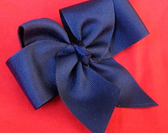 Hair Bows - Navy Solid Blue Girls 4 inch Single Hair Bow With Your Choice of Clip