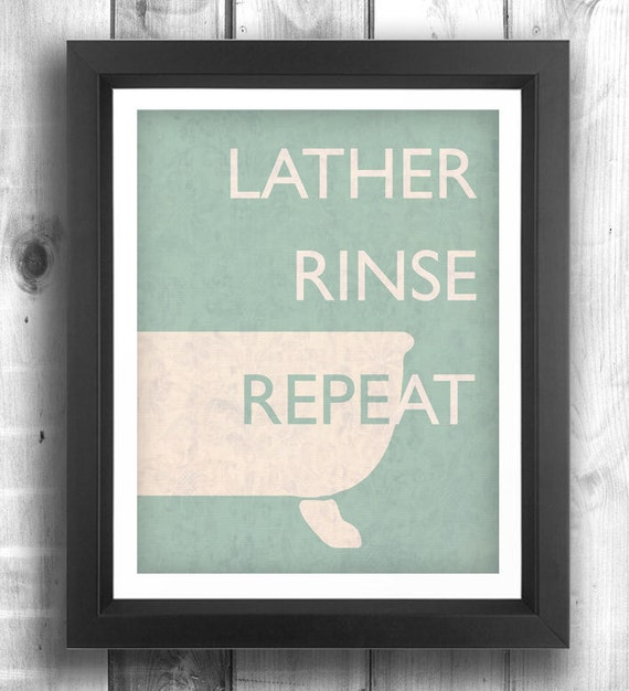 Quote poster bathroom decor retro poster by happylettershop for Bathroom wall decor quotes