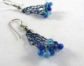 Blue Triangle Wire Earrin...