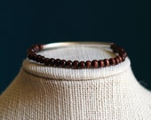 Dark Wood Bead Bracelet With Silver Accent