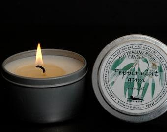 40 hour Australian Peppermint Gum Eucalyptus essential oil soy wax candle
