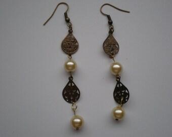 Chandelier Pearl and Metal Earrings